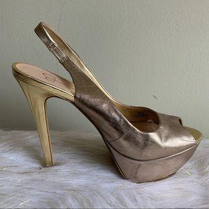 Jessica Simpson Halie gold slingback shoes size 9B